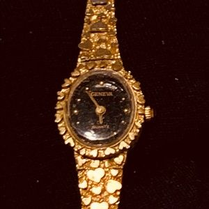 Geneva Gold Nugget Heart Watch #85943